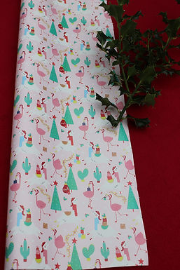 Festive Flamingo wrapping paper (10m and 69cm width)