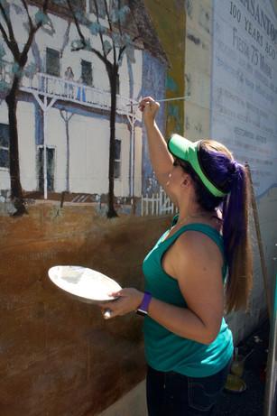 Working on Pleasanton Mural Restoration