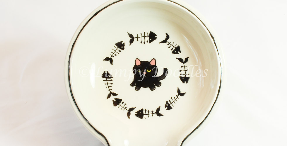 Begging Black Cat with Fish Skeletons Round Spoon Rest