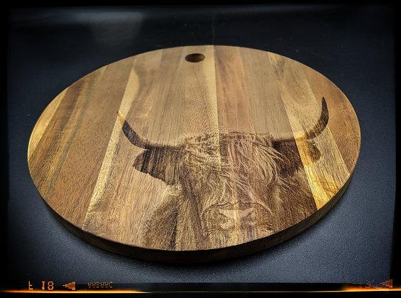 'Scottish Highlander' Round Chopping Board