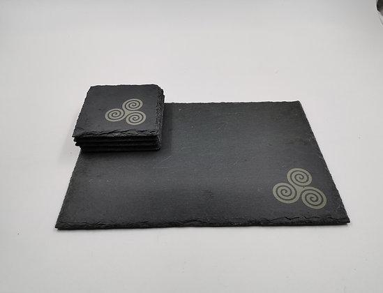 'Triskele' Slate Serving Platter & Coaster Set