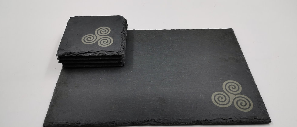 'Triskele' Slate Serving Platter & Coaster Set