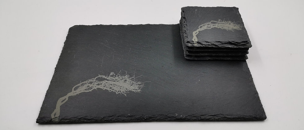 'Wild Atlantic Tree' Slate Serving Platter & Coaster Set