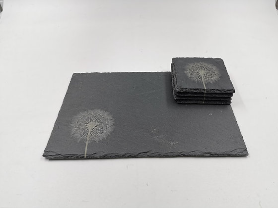 'Dandelion' Slate Serving Platter & Coaster Set