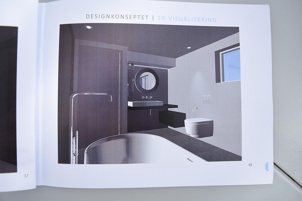Det har blitt noen små endringer siden designhåndboken ble ferdigsstilt i vårt. Det blir ikke skuffeseksjon til høyre, men en enkel benk. Begge benkene skal bygges med microsement :) Vasken har hyllen på høyre side.