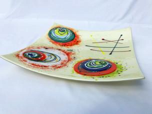 Glass, paint.  38cm x 38cm.