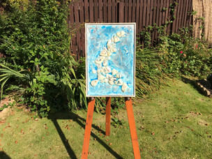 Glass, acrylic, paint, resin, wood.  62cm x 44cm.