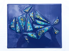 Glass, paint, chrome.  42cm x 36cm.