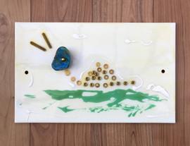 Tile, paint, resin, metal.  34cm x 20cm.