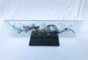 Glass, chrome, slate.  70cm x 20cm.