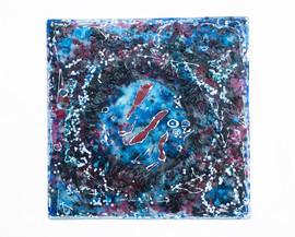 Glass, chrome, paint.  40cm x 40cm.