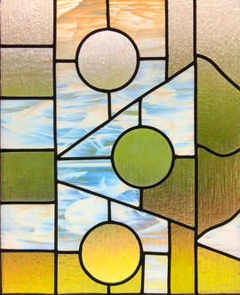 Glass, metal.  70cm x 90cm.