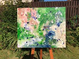 Acrylic paint, resin, wood.  88cm x 76cm.