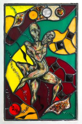 Glass, metal, paint.  55cm x 75cm