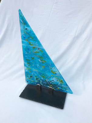 Glass, slate, metal.  68cm x 29cm.