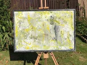 Acrylic, paint, resin, wood.  43cm x 64cm.