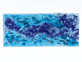 Glass, copper, mesh, paint.  30cm x 50cm.
