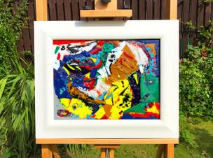 Glass, paint, wood.  54cm x 44cm.