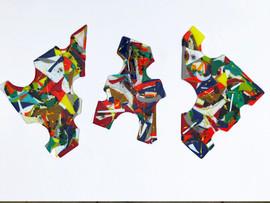 Glass, chrome, paint.  Each piece approximately 30cm x 20cm.