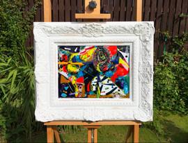 Fused glass, wood, paint.  54cm x 64cm.