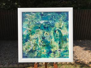 Acrylic, paint, resin, wood.  92cm x 94cm.