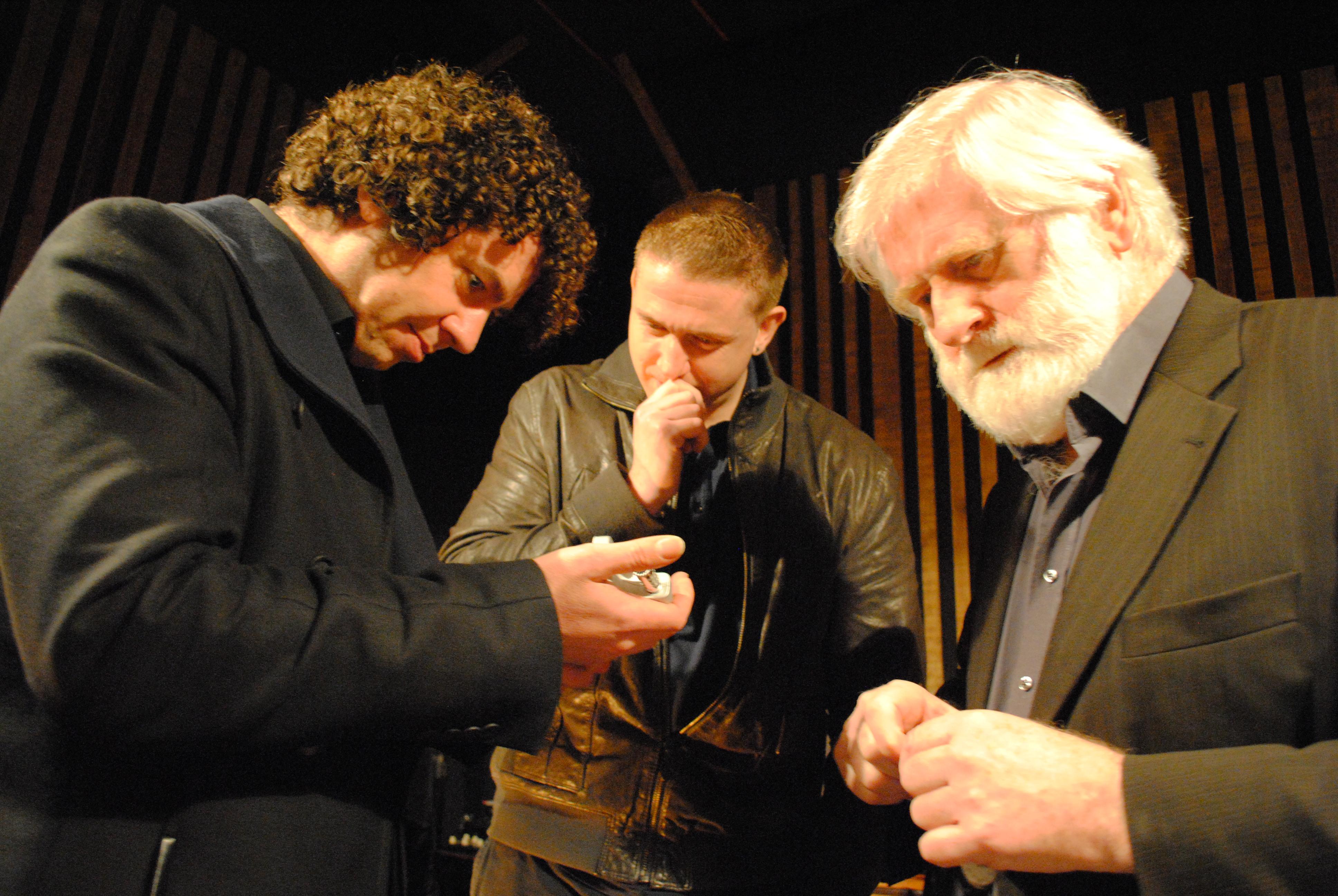 Declan O Rourke, Damien Dempsey & John Sheahan listen to playback (1) studio Mar