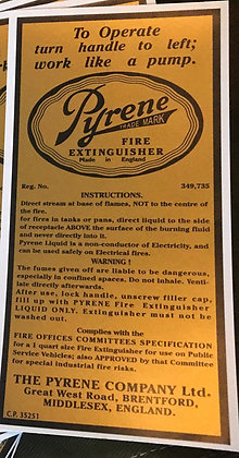 "WW2 British ""Pyrene"" Vehicle Fire Extinguisher LABEL"