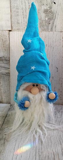 Nuschi - Wichtel Olé blau mit weissem Bart 6 x 9 x 24 cm ( LxBxH )