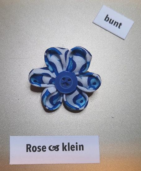 Brosche Rose Blau Klein