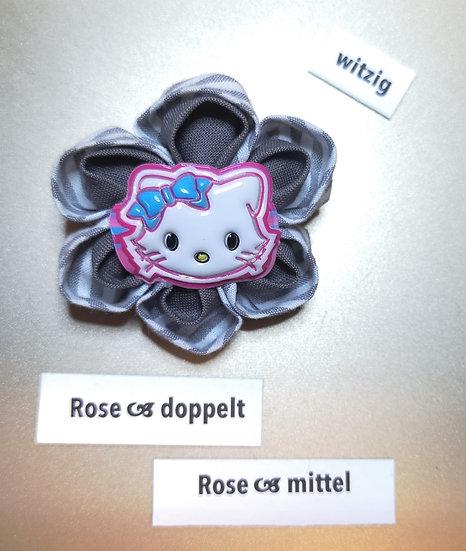 Brosche Rose Doppelt Grau Mittel