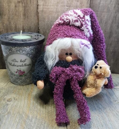 Sockenwichtel Mina mit Teddy 17 cm Hoch Durchmesser 6 cm