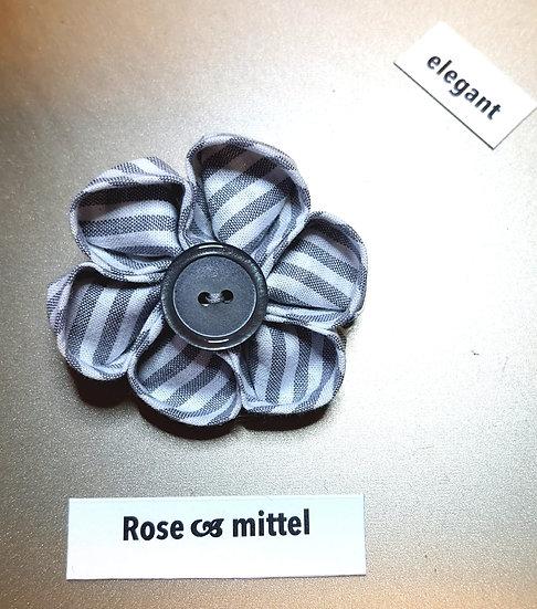 Brosche Rose Grau Mittel