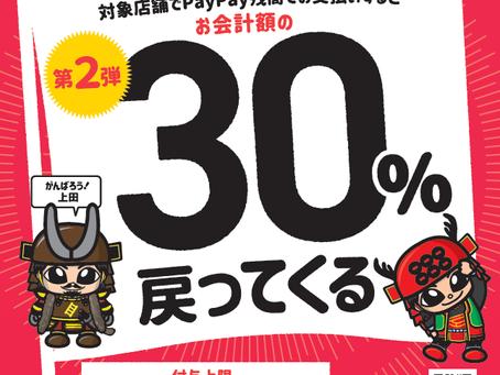 【第2弾】上田市×PayPay「がんばろう上田!最大30%戻ってくるキャンペーン」を実施します