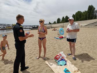Профилактический рейд на пляже Тулака г.Волгограда