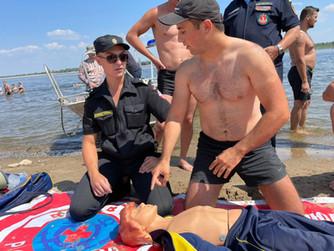 Профилактические учения на пляже Тулака г.Волгограда