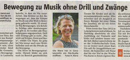 In der OTZ erscheint ein Artikel (Danke an Julia Schäfer)