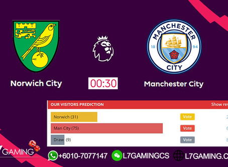 15 SEPTEMBER 2019 English Premier League : Norwich vs Manchestercity