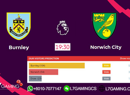 21 SEPTEMBER 2019 English Premier League : Burnley vs Norwich