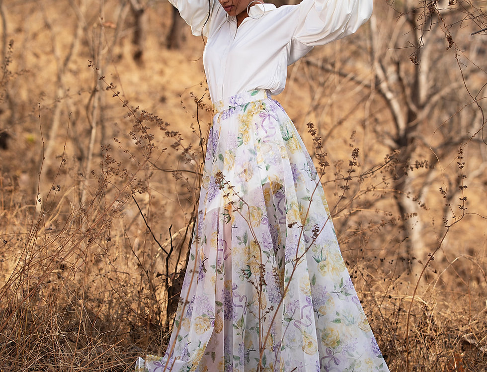 PURPLE BOWS AND BLOOMS SHEER SKIRT