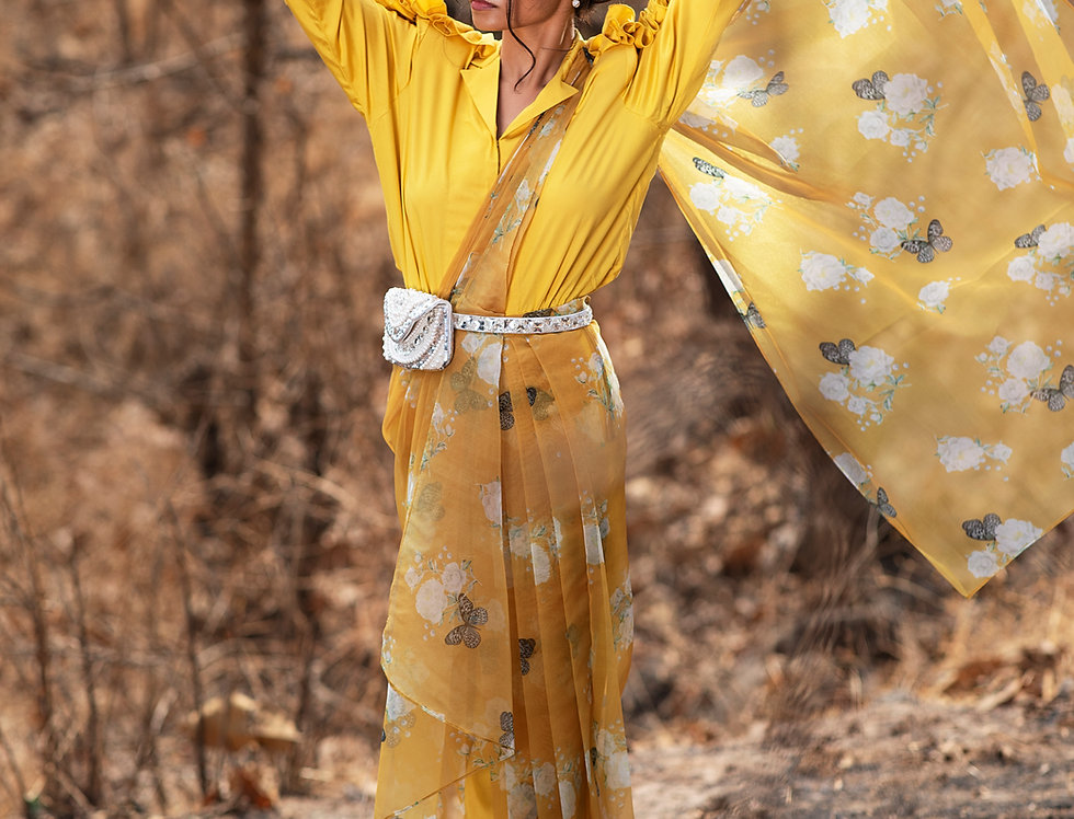 MUSTARD BUTTERFLY PRINTED SAREE WITH RUFFLED SLEEVE SHIRT