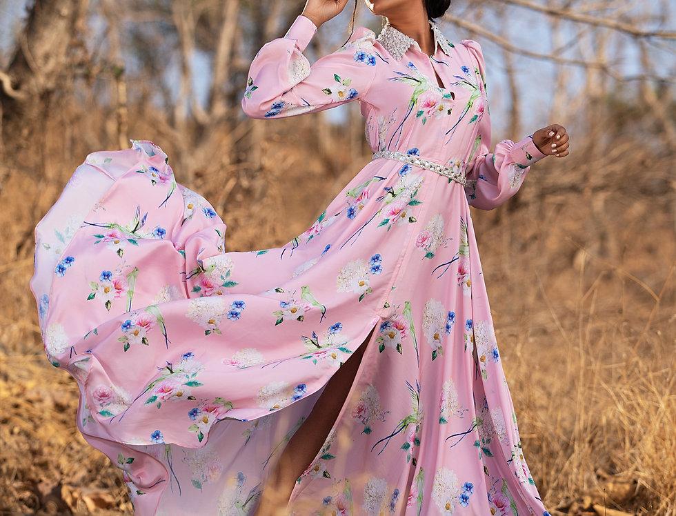 PINK FLUTTERING FLORALS SHIRT DRESS