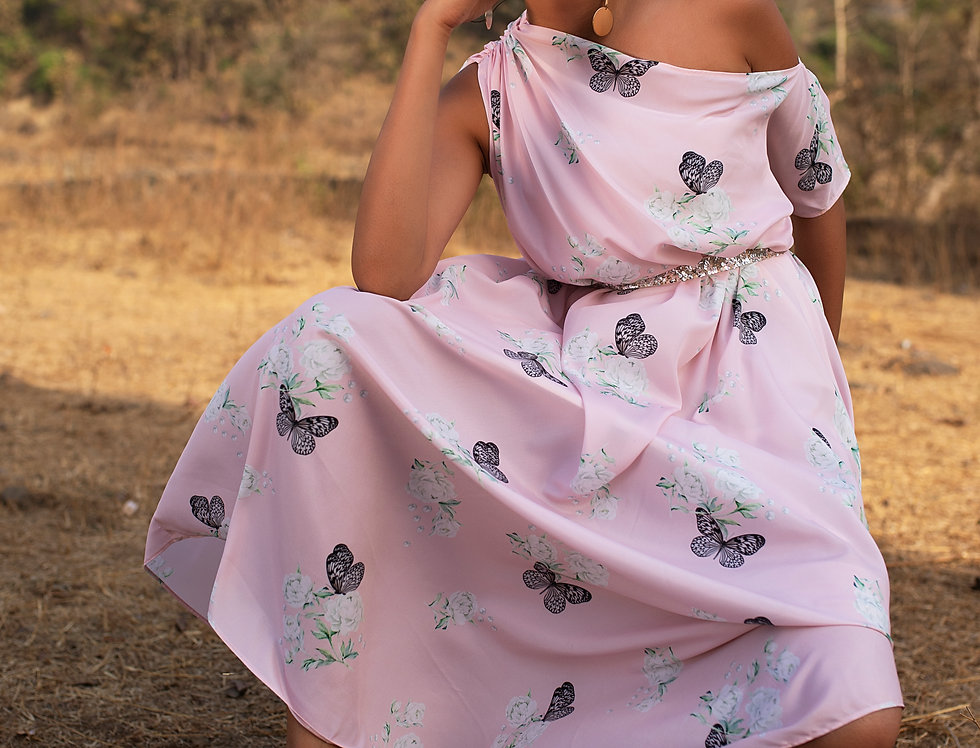 PINK BUTTERFLY PEONY PRANCER DRAPED OFF SHOULDER DRESS