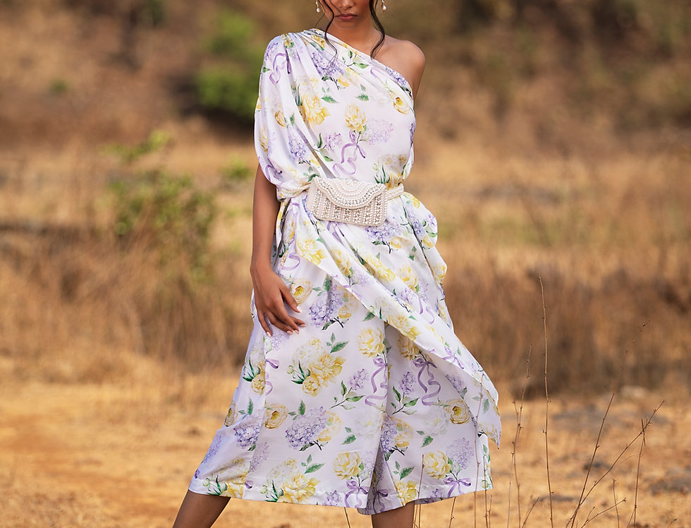 PURPLE BOWS AND BLOOMS DRAPED ONE SHOULDER TOP