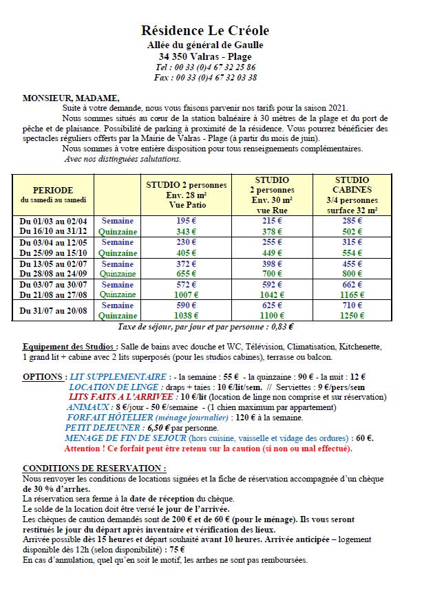 1. Tarifs Résidence Le Créole (Page 1-2)