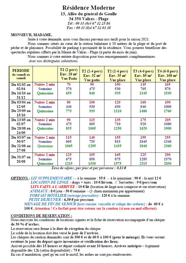 3. Tarifs Résidence Le Moderne (Page 1-2