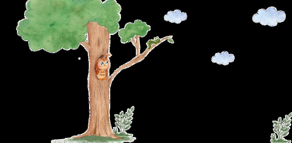 Dětská kresba strom sova a housenka