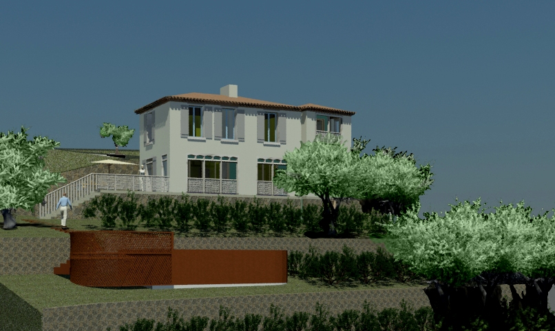 Villa sur vignes en terrasses