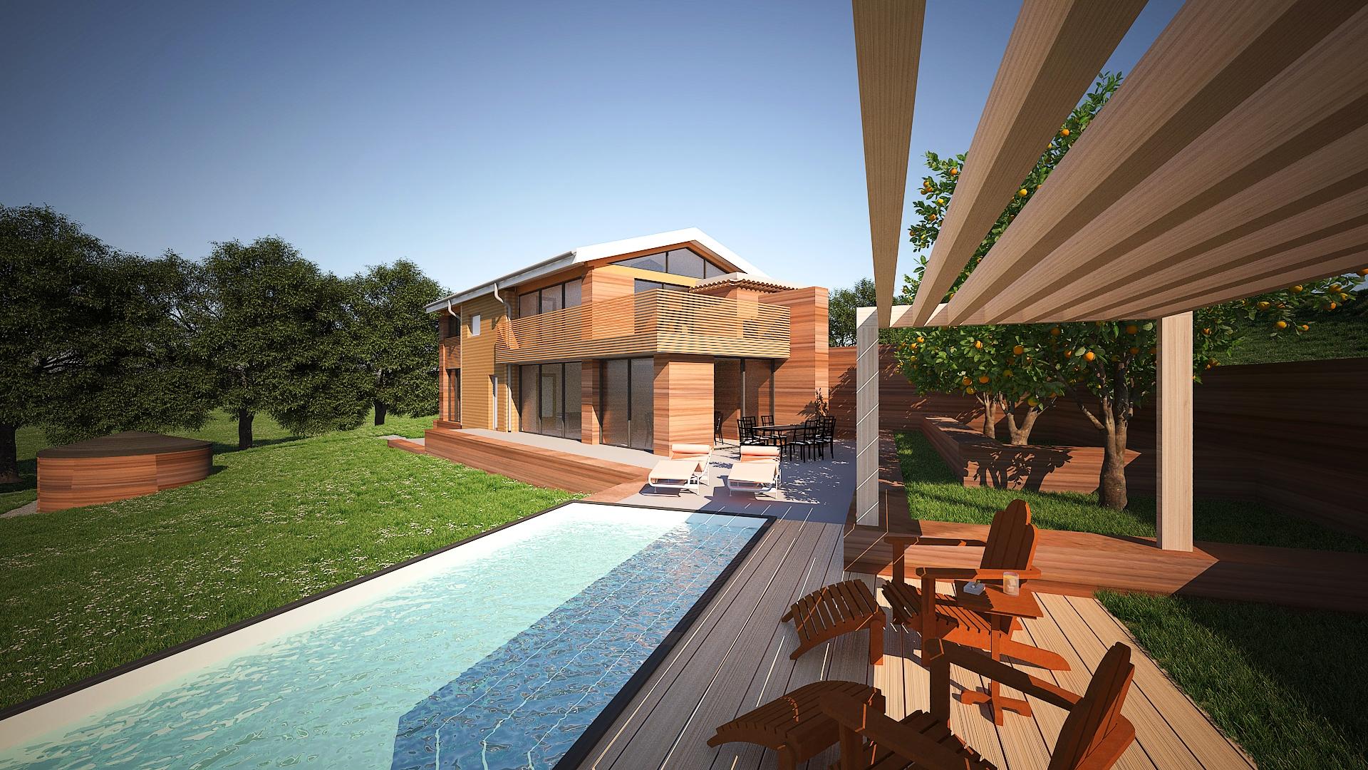 Villa en pisé avec piscine