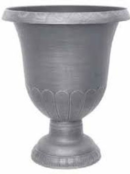 "Urn, 17.5"" Brushed Seascape Grey"