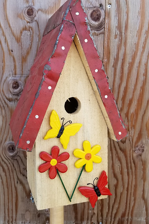 Birdhouse, Red & Yellow Butterflies & Flowers